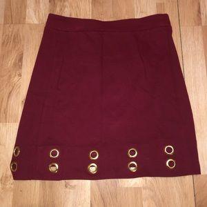 KENSIE Wine Colored Grommet Mini Skirt Medium